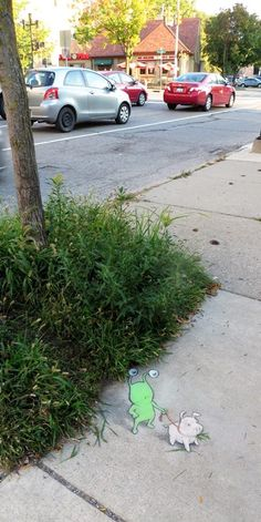 David Zinn posted a photo on Tumblr - The downtown weeds are high this time of year. That's why Sluggo always walks in the company of a herbivorous pig.  Detail