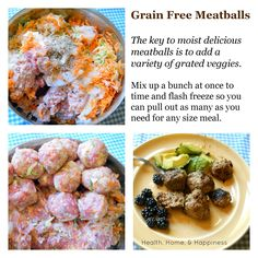 Cook grain free meatballs in bulk- these include both protein and veggie, and meatballs are perfect for individual servings!
