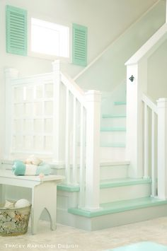 Heavenly Beach Cottage in Pastel by Tracey Rapisardi - Beach Bliss Living Turquoise Cottage Stairs Beach Cottage Style, Beach Cottage Decor, Coastal Cottage, Coastal Style, Coastal Decor, Cottage Style Baths, Cottage Art, Painted Cottage, White Cottage