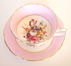 Vintage Teacup Set  Hammersley & Co. Pink English China Tea cup and Saucer Set with Pink Roses Floral Bone China - England Cottage Chic by HouseofLucien on Etsy https://www.etsy.com/listing/235187653/vintage-teacup-set-hammersley-co-pink