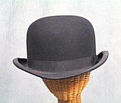 SIZE 7 1/2  VTG 1920s 1930s BLK DERBY MENS BOWLER HAT