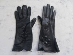 "Vintage UNUSED 1950's Black Kid Leather 10"" Wrist Length Evening Opera Gloves---Size 6 1/2--Auction #1151 by PrimaMona on Etsy"