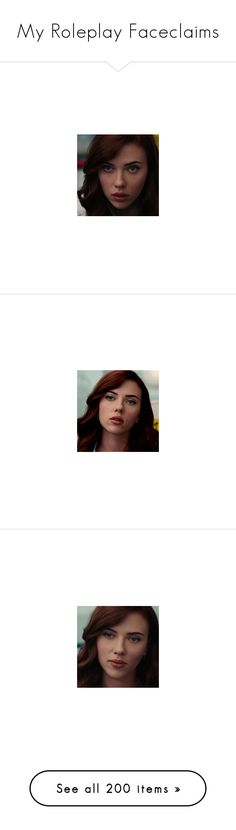 """My Roleplay Faceclaims"" by once-upon-a-peytenn ❤ liked on Polyvore featuring marvel, avengers, black widow, natasha romanoff, scarlett johansson, icon, icons, zooey deschanel, nikki reed and people"