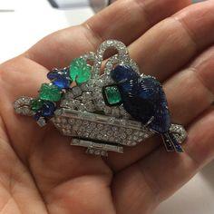 Art Deco emerald, sapphire and diamond brooch, by Mauboussin.