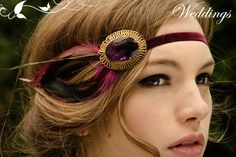 feather headband with vintage rhinestone brooch or old button