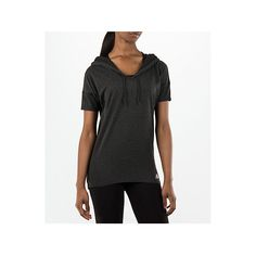 Adidas Women's Studio Short-Sleeve Hoodie ($30) ❤ liked on Polyvore featuring activewear, activewear tops, black and adidas