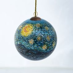This hand-painted glass ornament captures the intense beauty and masterful technique of the original Vincent Van Gogh oil painting, Starry Night. The art of decorating glass ornaments and bottles from Black Christmas Trees, Handmade Christmas Tree, Glass Christmas Tree Ornaments, Hand Painted Ornaments, Ball Ornaments, Christmas Balls, Christmas Crafts, Diy Ornaments, Xmas Tree