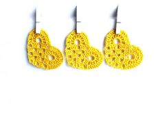 Crocheted hearts, yellow hearts applique, Wedding decorations, home ornaments, embellishments /set of 6/