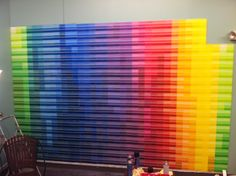 Used paint swatches to make a mural for the youth room!