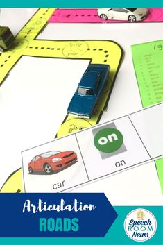 Articulation Roads are a great interactive speech therapy activity. This download includes black and white printable roads to pair with toy cars. 97 pages of articulation words (468 target words) are included for K, G, S, Z, F, TH, SH, CH, L, R, S blends, R blends, L blends. Also included are word lists and sentence strips.