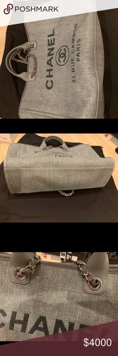 9681756c0824 Chanel Canvas Large Deauville Tote Grey Sold out! This color combo is  beautiful and great