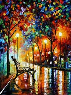 (Afremov, Leonid. The Loneliness of Automn. c. 2009. oil on canvas.) Leonid Afremov (1955 – ) was born in city of Vitebsk, Belarus. Afremov graduated from Vitebsk Art School in 1978. The school was founded by Marc Chagall in 1921. Along with Malevich and Kandinsky, Leonid Afremov is one of the elite members of the famous Vitebsk art school.