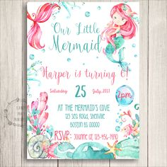 This Pink  Mermaid Birthday Invitation is  just perfect to announce your upcoming Under the Sea Bash! You'll love how beautifully these print, and won't be able to wait to celebrate your little Mermaid Birthday Party.  This listing is Editable at home by you using the latest Adobe Reader.