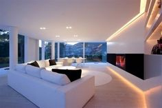 Rounded glass pavilion house on Lake Lugano Home Living Room, Living Room Designs, Glass Pavilion, Style Deco, Beautiful Living Rooms, Luxury Living, Modern Living, Clean Living, Simple Living