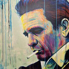 Johnny Cash farverig portræt maleri Malerierne - Allan Buch Malerier