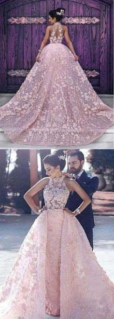 Chic a-line high neck long prom dresses lace pink prom dress long evening dresses - Wedding Dresses Models Fancy Wedding Dresses, Prom Dresses Long Pink, Wedding Dress Organza, Open Back Prom Dresses, Luxury Wedding Dress, Bridal Dresses, Lace Dress, Dress Long, Evening Dresses