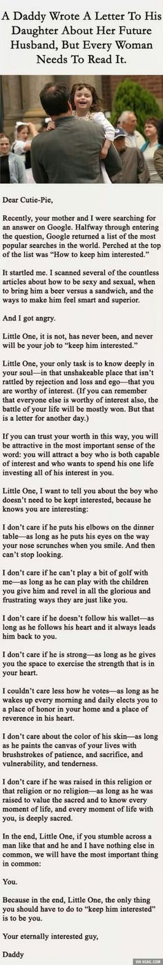 A letter from father to his daughter about picking the right man