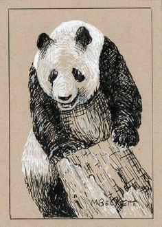 ACEO Original Painting Climbing Panda animals wildlife endangered bear black  #Impressionism Artist Trading Cards, Atc, Impressionism, Climbing, Panda, Original Paintings, Wildlife, Etsy Seller, Bear