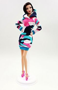Cora Gu Hot Pink Sweater Dress/ Hoodie Dress/ Casual Wear For Barbie Doll/Silkstone/ FR/ Curvy Barbie/ Lammily Dolls Girl's 'Present/Barbie Dress Clothes, http://www.amazon.com/dp/B01JA8WT1U/ref=cm_sw_r_pi_awdm_x_fQMiybP0S3T8A