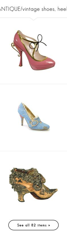 """""""ANTIQUE/vintage shoes, heels"""" by lynxe ❤ liked on Polyvore featuring shoes, heels, pink, sapatos, scarpe, guide london, pink shoes, pumps, blue and vintage"""