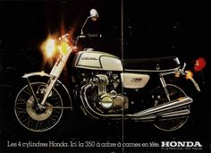 A double page spread of the Honda CB350F
