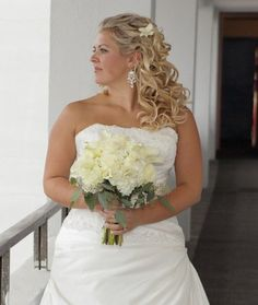 Beach Classic Modern Romantic Ivory White Beach Bride makeup Curly Hairpin Half-up Long Summer Wedding Hair & Beauty Photos & Pictures - WeddingWire.com