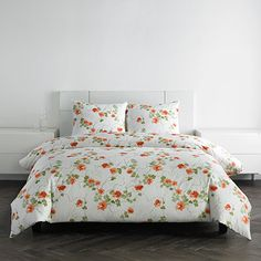 Beautiful #VeraWang #floral #bedding! #beddingstyle #orange #blossoms