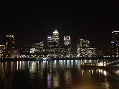#CanaryWharf #London at night from @HiltonHotels bar across the river. - royal dockside - www.royaldockside.com