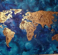 Original world map painting acrylic world map map art globe acrylic items similar to beautiful hand painted map of the world on stunning abstract background original on etsy gumiabroncs Gallery