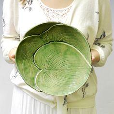 "Ceramic Platter Leaf Platter Large Serving Platter 10 1/4"" Green Handmade…"