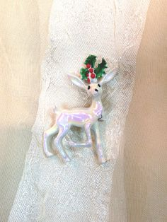 Vintage White Reindeer Brooch Estate Jewelry from NorthCoastCottage Jewelry Design & Vintage Treasures, on Etsy.com, $19.00