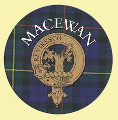 MacEwan Clan Crest Tartan Cork Round Clan Badge Coasters Set of 4 - For Everything Genealogy