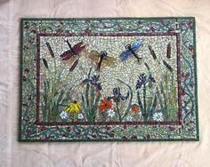 Mosaic Backsplash Inset Dragonfly-Iris - Custom Designed - 24 by 24 - stained glass - glass tile - mosaic kitchen Remodeling your kitchen or bath? Add a standout piece of mosaic art to your design with our pre-fabricated glass tile and stained glass inset! Custom designed to add a