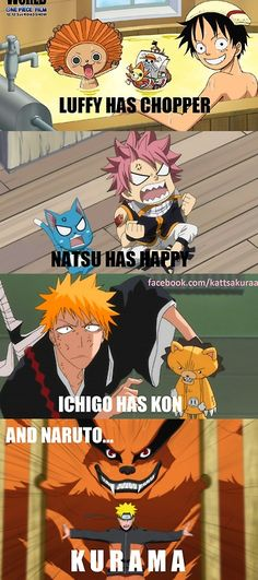 One Piece, Fairy Tail, Bleach, and Naruto.