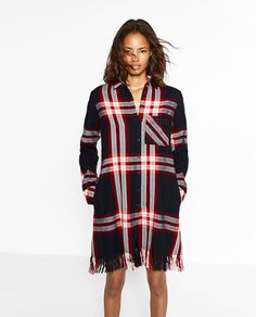 Image 2 of CHECK DRESS WITH FRINGING from Zara
