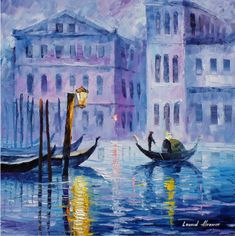 Leonid Afremov -  MYSTERY OF VENICE -  Oil painting on canvas by leonid afremov, oil painting on canvas