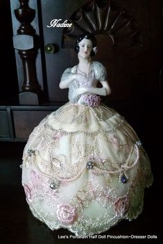 Porcelain Half Doll Pincushion Dresser Doll Hand Painted Hand Made Collectible | eBay