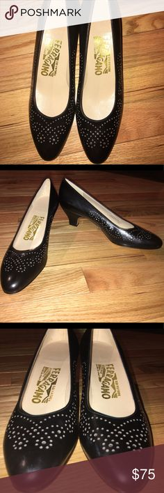 NWOB! Ferragamo Vintage Round Toe Kitten Heels NWOB! Ferragamo Vintage Round Toe Eyelet Kitten Heel Pump NEW VINTAGE! NEVER BEEN WORN - 100% Authentic  Size: 6.5 AA (narrow) Color: Black w/ Silver small eyelet dots design Material: Suede Upper. Leather Sole & Lining  Perfect Condition. Never Been Worn!  Made in Italy  Retail Value Salvatore Ferragamo Shoes Heels