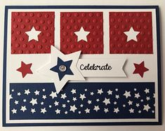 "Handmade of july"" card, red white blue, patriotic, stars stripes, celebrate by juliespapercrafts on etsy Military Cards, Karten Diy, Star Cards, Card Sketches, Cute Cards, Creative Cards, Greeting Cards Handmade, Homemade Cards, Stampin Up Cards"