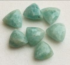 5 Pcs Amazonite Faceted Stones Amazonite Trillion by gemsforjewels