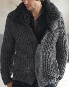 Erkek büyük beden örgü ceket modeli | Örgü | Örgüler | Örgü modelleri