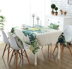 Cotton Linen Tablecloth Modern Style Floral Leaves Pattern Table Cloth Decorative Table Top Cover for Dinner Kitchen Picnic Party Wedding Washable - Kitchen Appliances Lists Products Table Top Covers, Linen Tablecloth, Cotton Linen, Sweet Home, Table Decorations, Blanket, Bed, Kitchen, Pattern