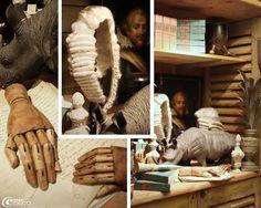 Mains articulées en bois et perruque chez Bouche à oreille, Paris