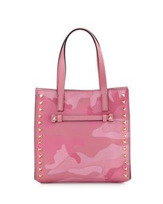 VALENTINO Rockstud Camouflage Small Leather Shoulder Bag, Pink. #valentino #bags #shoulder bags #hand bags #canvas #leather #