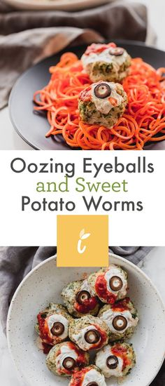 Oozing Eyeballs and Sweet Potato Worms Sweet Potato Spiralizer Recipes, Sweet Potato Recipes, Sweet Potato Noodles, Healthy Appetizers, Balanced Diet, Crockpot Recipes, Veggies, Potatoes, Dinner