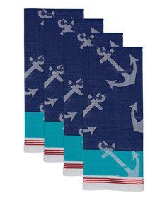 Anchors Away Jacquard Dish Towel - Set of Four #zulily #zulilyfinds