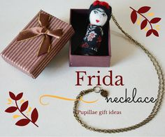 Frida Kahlo mini doll necklace is a folk art doll pendant, made of felt is inspired by mexican painter, in boho style tiny like a matrioshka