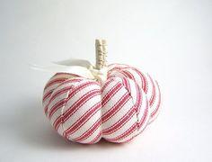 Sweet red ticking pumpkin pincushion