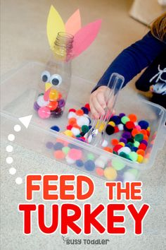 Feed the Turkey Thanksgiving Activity - Busy Toddler You have to make this Feed the Turkey activity. An easy Thanksgiving activity for toddlers that works on fine motor skills. A quick & easy toddler activity. Thanksgiving Crafts For Kids, Thanksgiving Activities For Preschool, Christmas Toddler Activities, Fall Toddler Crafts, 2 Year Old Activities, Fall Art For Toddlers, Turkey Crafts For Preschool, Fall Activities For Toddlers, Quiet Time Activities