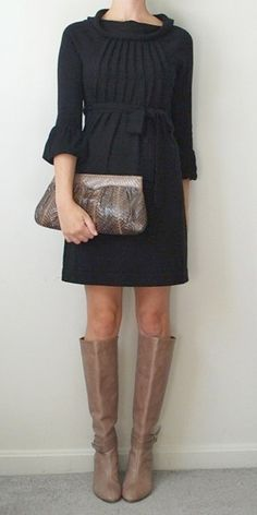 sweater dress, a closet must have.  So modern & stylish with these boots and would also be a great classic look with tights and wedges or a cute rounded toe pump